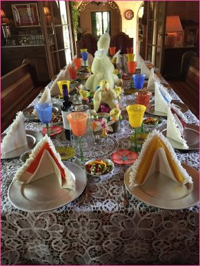 One of five tables at Easter